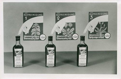 Werbung für Frischpflanzensäfte im Reformhaus
